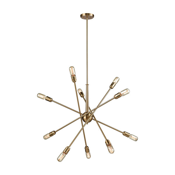 Delphine Satin Brass 10-Light Chandelier, image 1