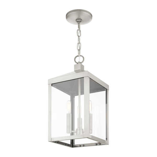 Nyack Brushed Nickel Three-Light Outdoor Pendant Lantern, image 6