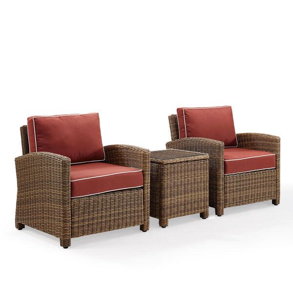 Bradenton Sangria 3-Piece Outdoor Wicker Conversation Set with Cushions, image 2