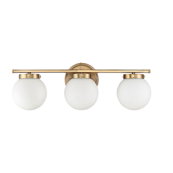 Nicollet Natural Brass Three-Light Bath Vanity with White Opal Glass, image 2