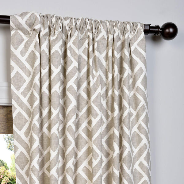 Martinique Taupe 84 x 50-Inch Printed Cotton Curtain Single Panel, image 3