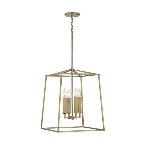 Thea Aged Brass 71-Inch Four-Light Foyer Pendant, image 4