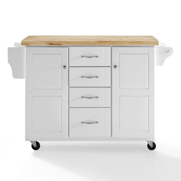 Elliot White MDF and Birch Veneer Kitchen Cart, image 2