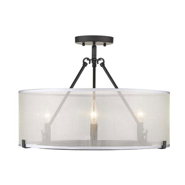 Alyssa Matte Black 20-Inch Three-Light Semi-Flush Mount With Sterling Mist Shade, image 2