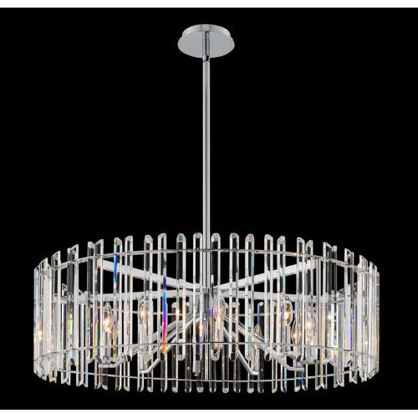 Viano Polished Chrome 10-Light Pendant with Firenze Crystal, image 2