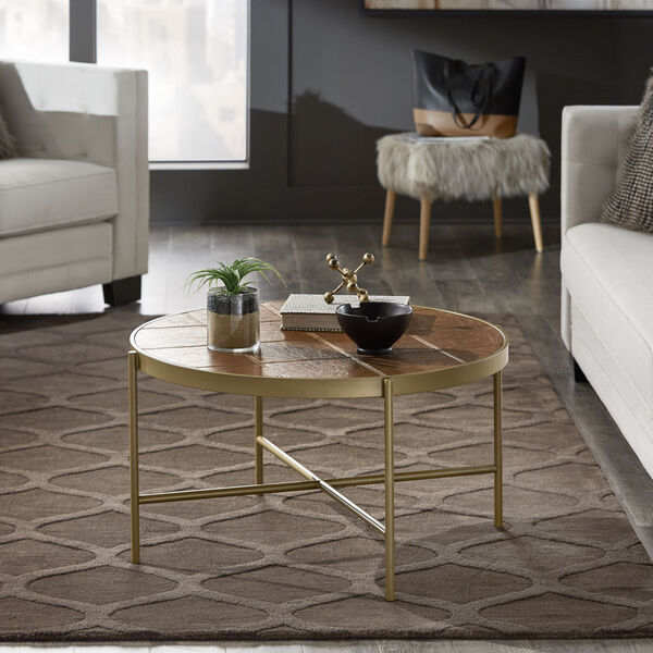 Dawson Gold and Faux Leather Coffee Table, image 6