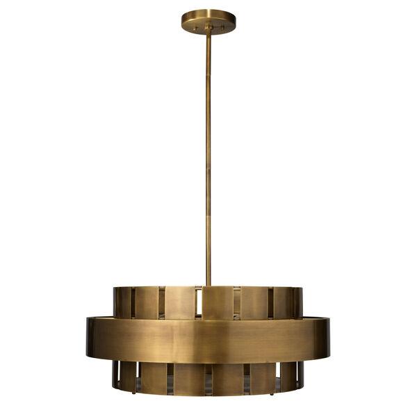 Orbit Antique Brass Four-Light Chandelier, image 1