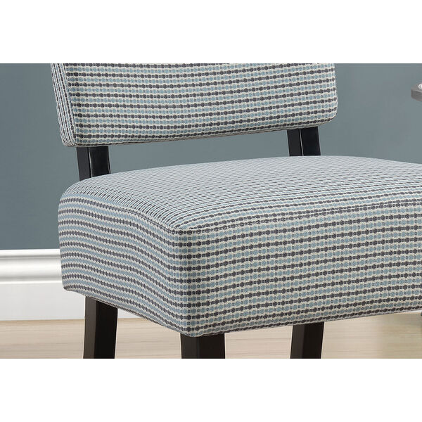 Light Blue and Gray 32-Inch Abstract Dot Fabric Accent Chair, image 3