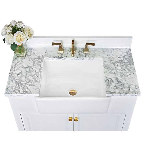 Adeline White 36-Inch Vanity Console with Farmhouse Sink, image 6