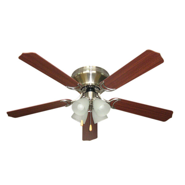 Brilliante Brushed Nickel 52 Inch Blade Span Ceiling Fan, Blades And Light Kit, image 1