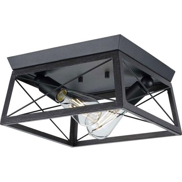 Briarwood Textured Black Two-Light Flush Mount Ceiling Light, image 1