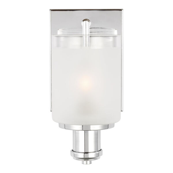 Norwood Chrome One-Light Bath Vanity with Clear Highlighted Satin Etched Shade, image 1
