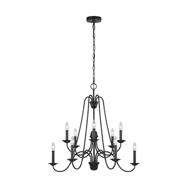 Boughton Antique Forged Iron 10-Light Chandelier, image 1