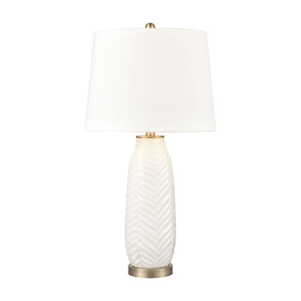 Bynum White and Antique Brass One-Light Table Lamp, image 1