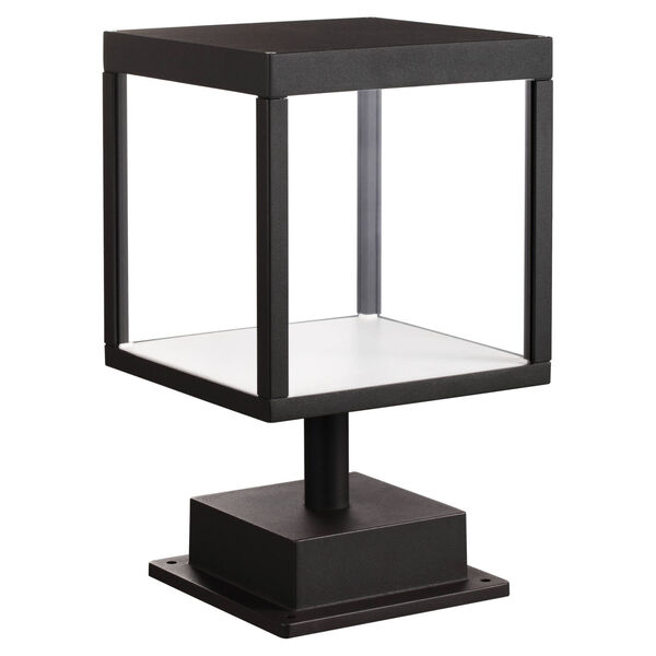 Reveal Black 7-Inch Led Outdoor Square Pier Mount With Clear Glass, image 1