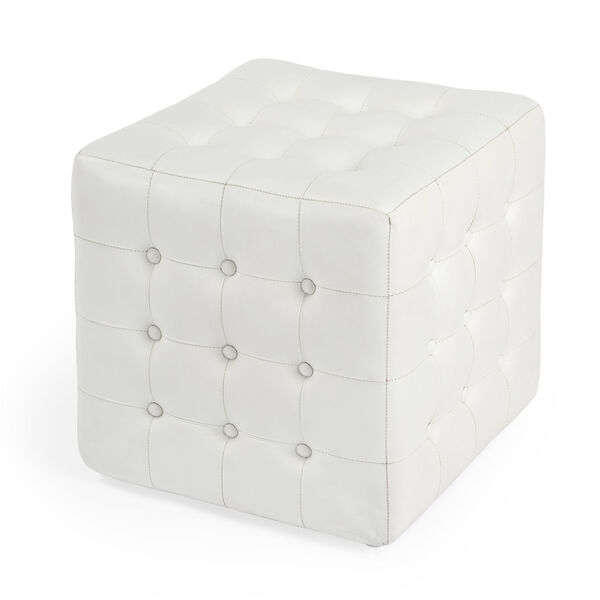 Accent Seating Leon White Leather Ottoman, image 1