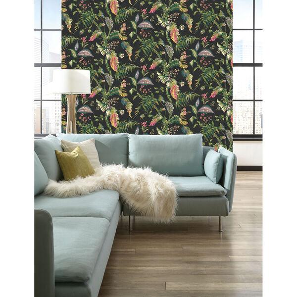 Ashford House Tropics Black and Green Fiji Garden Wallpaper, image 2