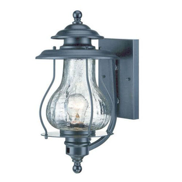 Blue Ridge Matte Black One-Light Outdoor Wall Mount with Clear Crackled Glass, image 1