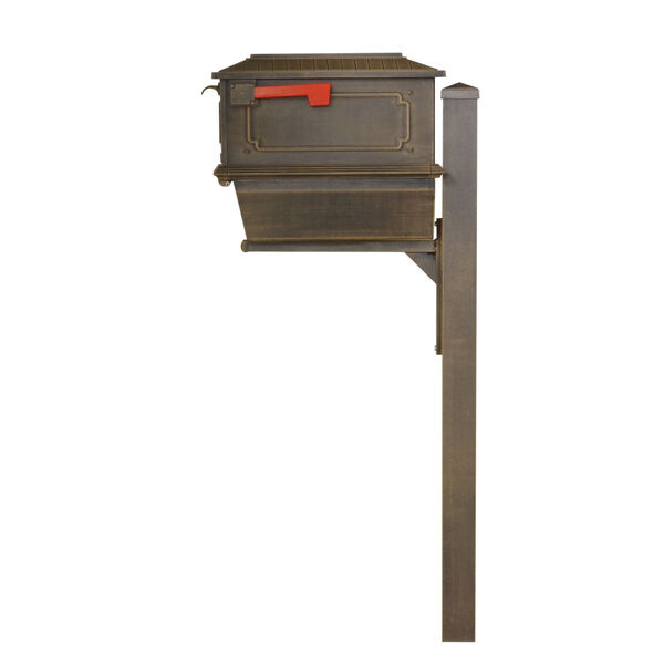 Kingston Curbside Copper Mailbox with Newspaper Tube and Springfeild Mailbox Post, image 4