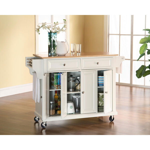 Natural Wood Top Kitchen Cart/Island in White Finish, image 4