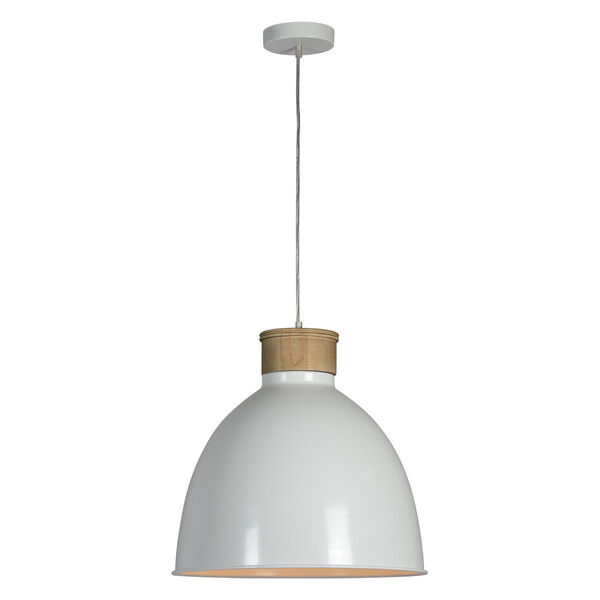 Boone Natural Wood and White One-Light Pendant, image 1