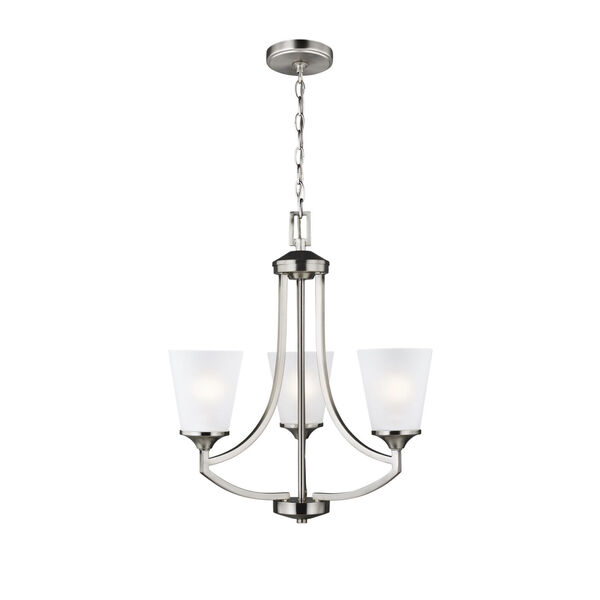 Hanford Brushed Nickel Three-Light Chandelier with Satin Etched Shade, image 1