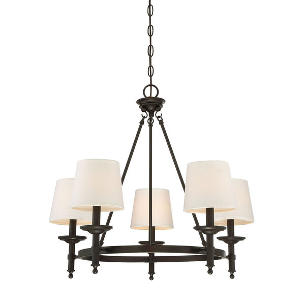 Wellington Rubbed Bronze Five-Light Traditional Chandelier with White Fabric Shade, image 1