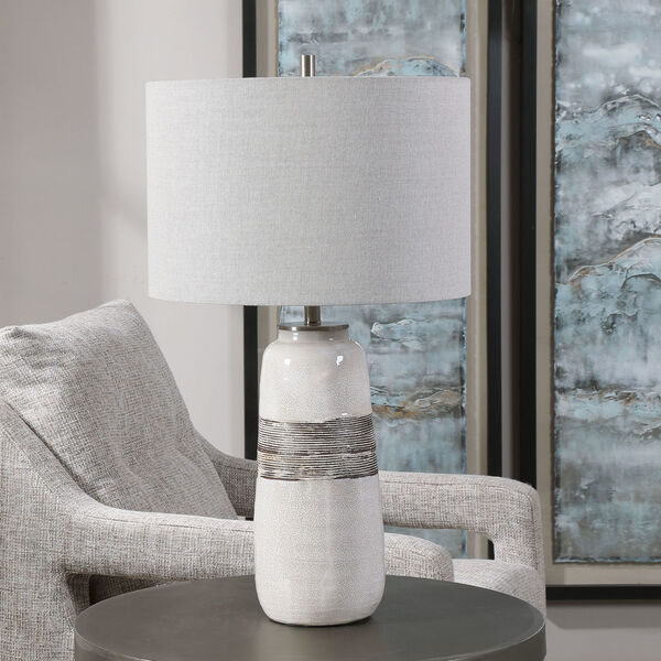 Comanche Off-White One-Light Crackle Table Lamp, image 3