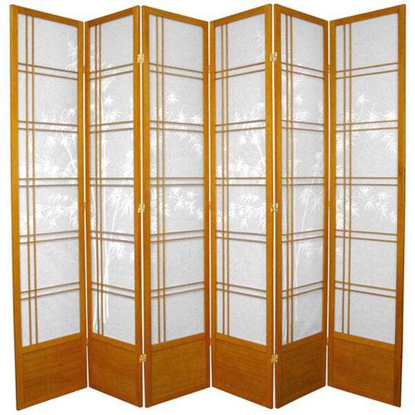 Seven Ft. Tall Bamboo Tree Shoji Screen - Honey Six Panel, Width - 105 Inches, image 1
