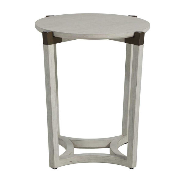 Mills Sesame White and Aged Brass 23-Inch Side Table, image 1