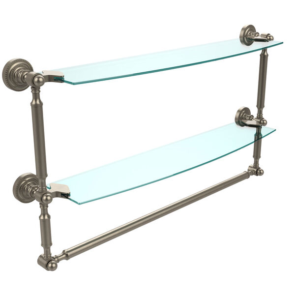 Antique Pewter Double Shelf with Towel Bar, image 1