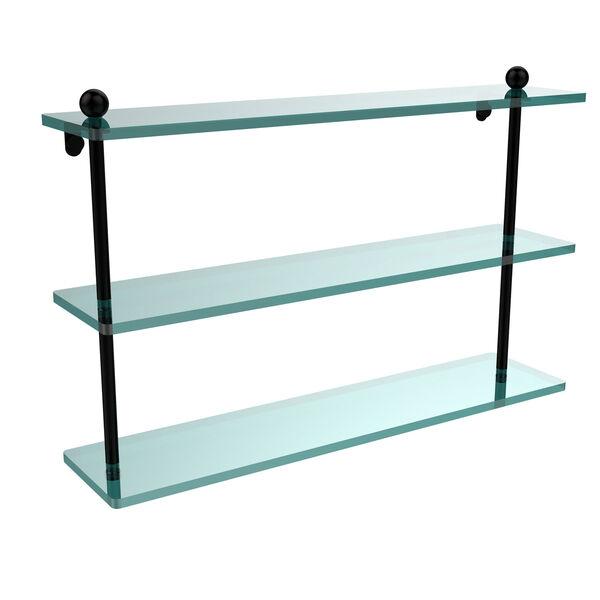 Matte Black 22 Inch Triple Glass Shelf, image 1