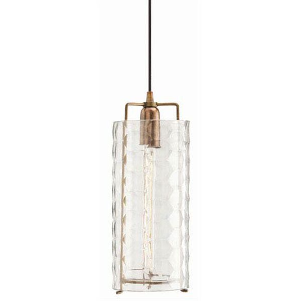 Ice Faceted Large Clear Glass Pendant, image 1