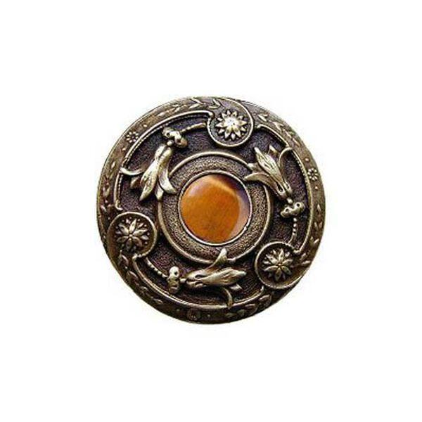Antique Brass Tiger Eye Jeweled Lily Knob, image 1