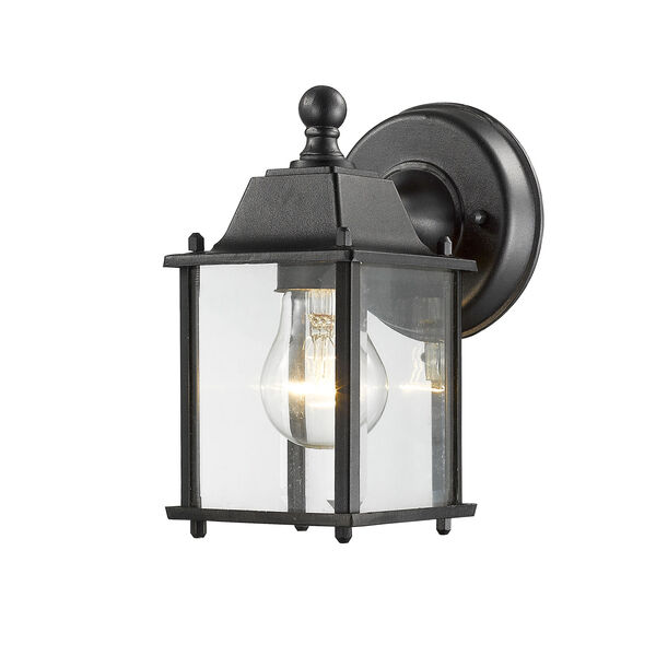 Waterdown Black 6-Inch One-Light LED Outdoor Wall Sconce with Clear Beveled Glass, image 1