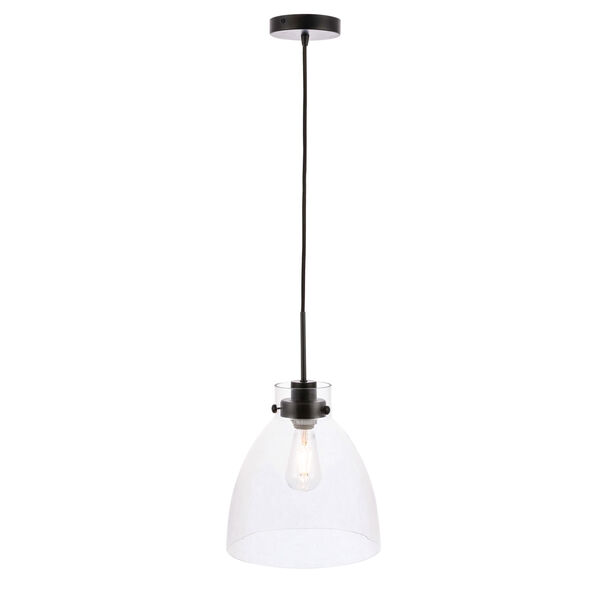 Frey Black 11-Inch One-Light Pendant with Clear Glass, image 4
