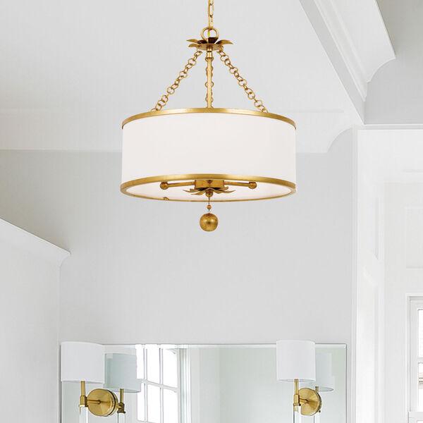 Broche Antique Gold Three-Light Chandelier, image 6