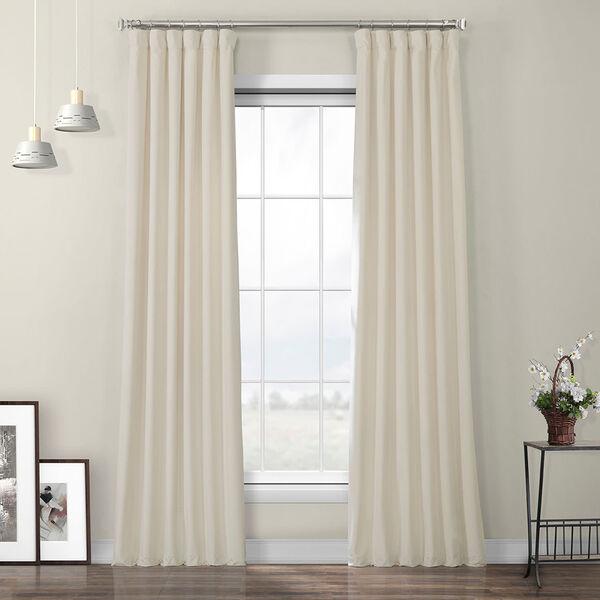 Ivory Heritage Plush Velvet Curtain Single Panel, image 1
