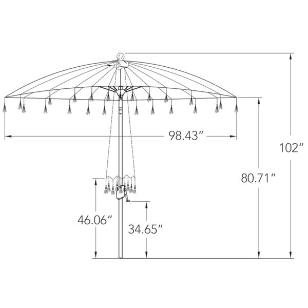 Isabela Jockey Red 8.5-Feet Round Auto Tilt Umbrella, image 3