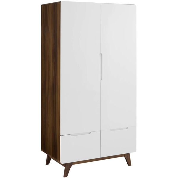 Uptown Walnut White Wood Wardrobe Cabinet, image 1