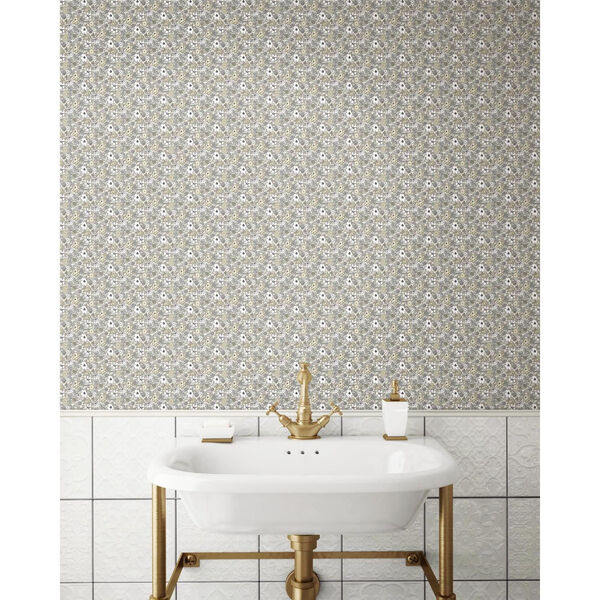Floral Ditzy Vine Gray Peel and Stick Wallpaper - SAMPLE SWATCH ONLY, image 2