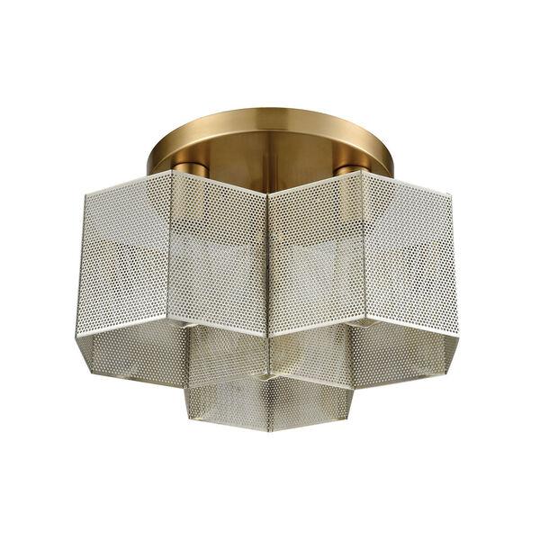 Compartir Polished Nickel and Satin Brass Three-Light Semi-Flush Mount, image 5