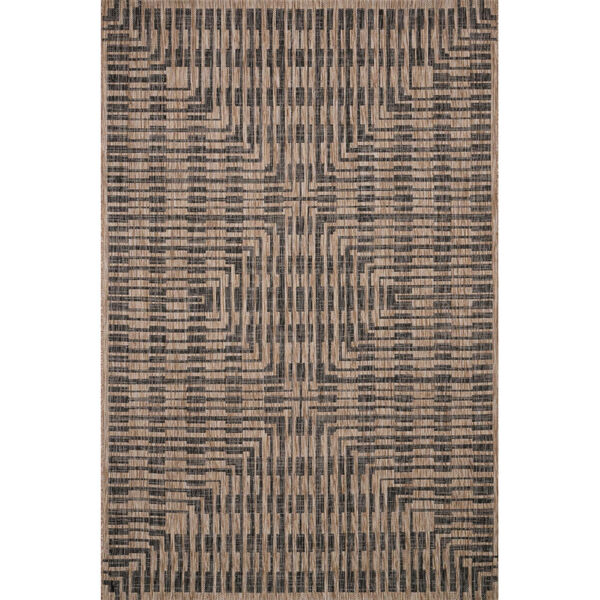 Isle Brown with Black Rectangle: 5 Ft. 3 In. x 7 Ft. 7 In. Rug, image 1