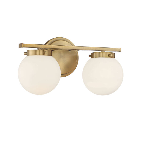 Cora Natural Brass Two-Light Bath Vanity with Opal Glass, image 3
