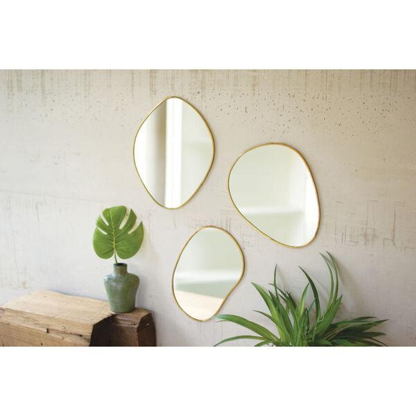 Brass Framed Organic Shaped Mirror, Set of 3, image 2