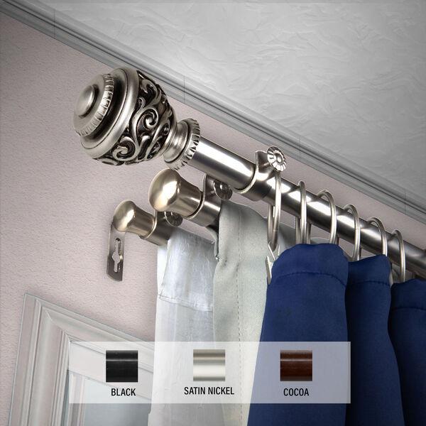 Eleanor Satin Nickel 120-Inch Triple Curtain Rod, image 2