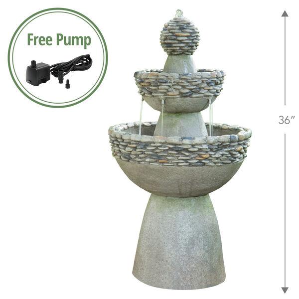 Stone Grey Outdoor Garden Zen Three - Tier Waterfall Fountain, image 2