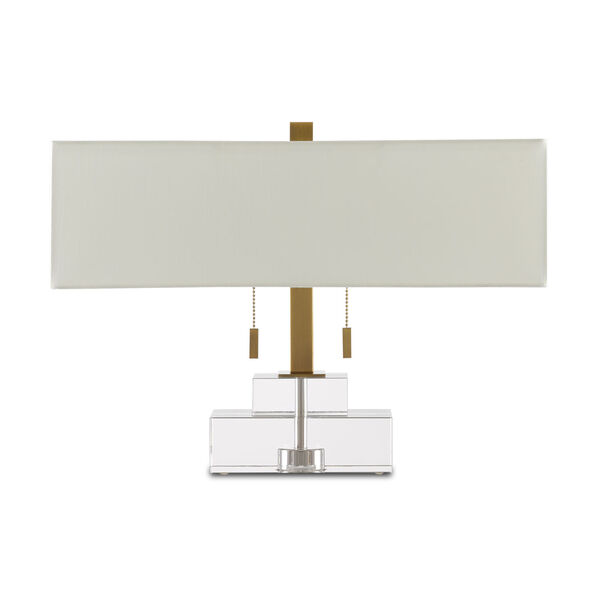 Chiara Clear and Antique Brass Two-Light Table Lamp, image 2