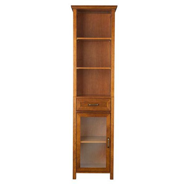 Avery Oak Linen Cabinet with One-Drawer and Three Open Shelves, image 1