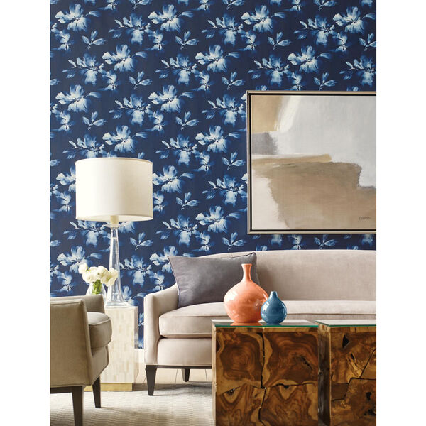 York Wallcoverings Candice Olson Tranquil Navy Blue Floral Wallpaper Sample Swatch Only So2470 Memosample Bellacor